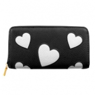 Trendy faux leather wallet silver heart Black
