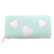 Trendy faux leather wallet silver heart Mint green