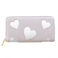 Trendy faux leather wallet silver heart Light taupe grey