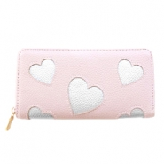 Trendy faux leather wallet silver heart Vintage rose