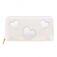 Trendy faux leather wallet silver heart Pink beige