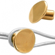 DQ metal end cap with knot leather clasp Gold (nickel free)
