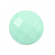 Flat DQ acrylic beads 24mm round faceted Turquoise
