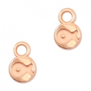 Round DQ metal charms fish 6mm Rose gold (nickel free)