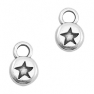 Round DQ metal charms star 6mm Antique silver (nickel free)
