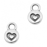 Round DQ metal charms heart 6mm Antique silver (nickel free)