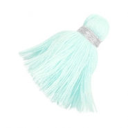 Ibiza style tassels 3.6cm Silver-light turquoise
