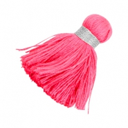 Ibiza style tassels 3.6cm Silver-bright pink