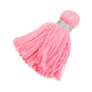 Ibiza style tassels 3.6cm Silver-pink