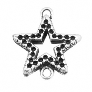 TQ metal charms connector star Antique silver