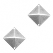 TQ metal square pointed charms Antique silver