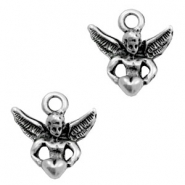 TQ metal charms angel Antique silver