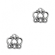 TQ metal charms crown with 3 eyes Antique silver