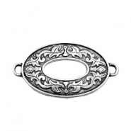 TQ metal charms oval connector Antique silver