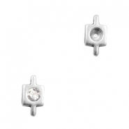 TQ metal charms square shaped connector with setting for PP32 Swarovski Antique silver