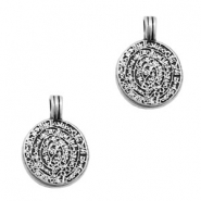 TQ metal charms oriental coin 20mm  Antique silver