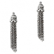 Tq metal charms tassel Antique silver