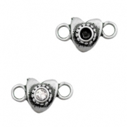 TQ metal charms connector heart with setting for SS24 Swarovski  Antique silver