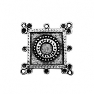 TQ metal charms square with PP32 Swarovski setting Antique silver