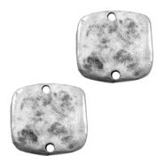 Tq metal charms square shaped connector Antique silver