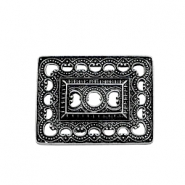 TQ metal charms rectangle Boho style Antique silver