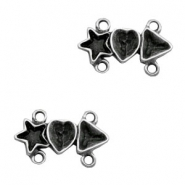 TQ metal charms connector star heart triangle Antique silver