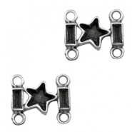TQ metal charms rectangle shaped connector star Antique silver