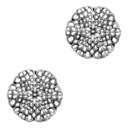 Round TQ metal charms wavy flower Antique silver
