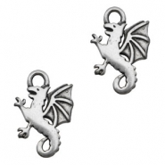 TQ metal dragon charms Antique silver