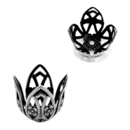 TQ metal beadcap beads flower for 20mm bead Antique silver
