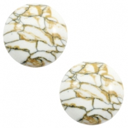Basic cabochon stone look 12mm White-brown-black