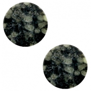 Basic cabochon flat stone look 20mm Black-green