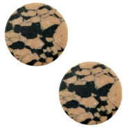 Basic cabochon flat stone look 12mm Sand-brown-black