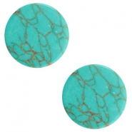 Basic cabochon flat stone look 12mm Light turquoise-brown