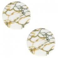Basic cabochon flat stone look 20mm White-brown-black