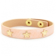 Trendy bracelets reptile with studs gold star Nude pink