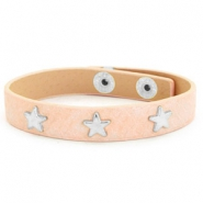 Trendy bracelets reptile with studs silver star Nude pink