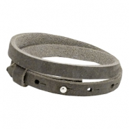 Cuoio bracelets nubuck leather 8mm double for 12mm cabochon Taupe grey