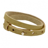 Cuoio bracelets nubuck leather 8mm double for 12mm cabochon Light olive green