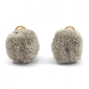 Pompom charm with eye gold 15mm Taupe grey
