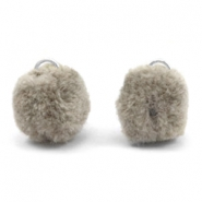 Pompom charm with eye silver 15mm Taupe grey