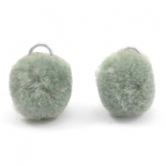 Pompom charm with eye silver 15mm Chinois green grey