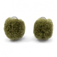 Pompom charm with eye silver 15mm Olive green