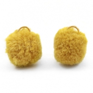 Pompom charm with eye gold 15mm Spicy mustard green
