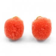 Pompom charm with eye gold 15mm Coral orange