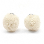 Pompom charm with eye silver 15mm Sand beige