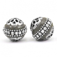 Bohemian beads 16mm Anthracite grey-silver