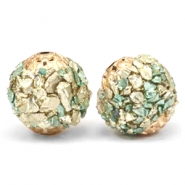 Bohemian beads 14mm Turquoise green-gold