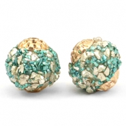 Bohemian beads 14mm Turquoise-gold