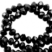 Top faceted beads 8x6mm disc Black-pearl high shine coating